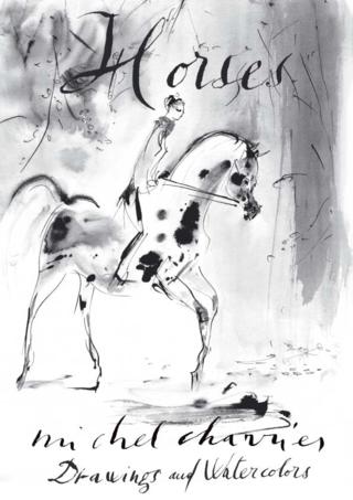 Horses-chevaux cavalières cavaliers élégants dessin plume encre noire Michel Charrier