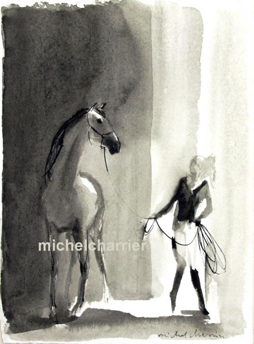 cavalière avec son très grand cheval et doux-dessin Michel Charrier cavalière et son cheval à la longe