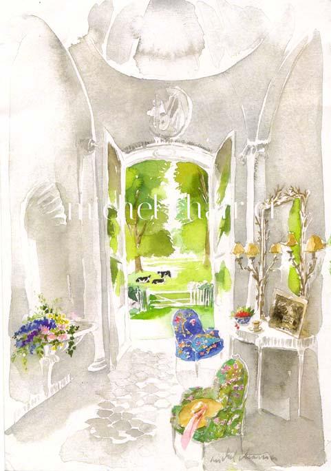 L'entrée-maison-en-Normandie-portrait-d'intérieur-aquarelle-portrait-de-maison-aquarelle-commandez-votre-maison-aquarelle-fine-le jardin-la-maison-l'intérieur-aquarelles-personnelles-souvenir-d'un-lieu-aimé-aquarelle-de-qualité-à offrir-célébration-d'un-lieu-aquarelle-d'une maison de famille-aquarelle-d'une maison de vacances-aquarelle souvenir-