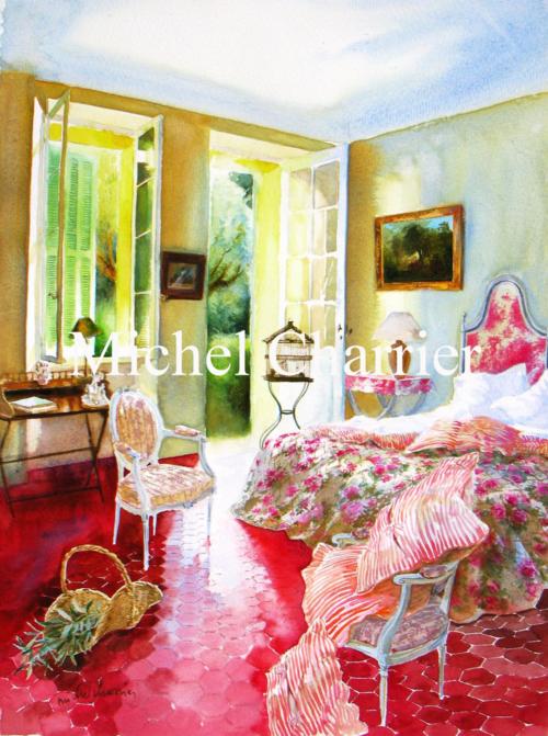 Chambre au bord de la Méditerranée-Eighteenth century- toile de Jouy-maison méditerranée-côté sud-interieur aquarelle-Interior in provence-