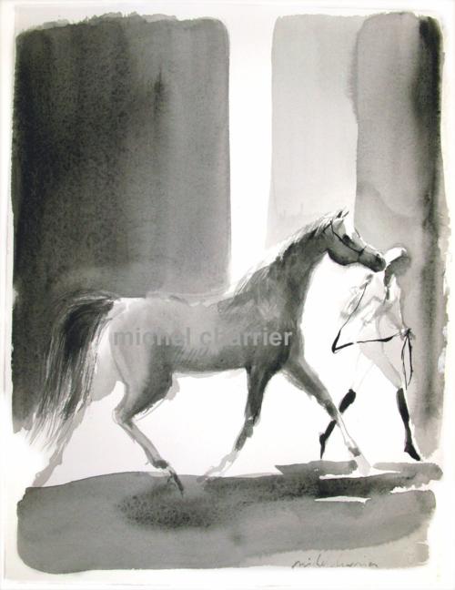 peinture de cheval et sa cavalière, aquarelle de cheval et cavalière, dessin de cheval et cavalière-chevaux exposition de peintures et dessins Michel charrier