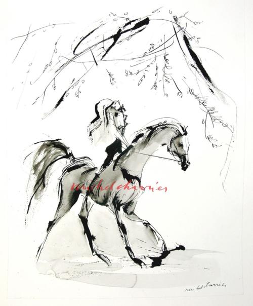 dessin peinture de cheval, peinture de chevaux peintre de chevaux Michel Charrier- peintre équestre Michel Charrier