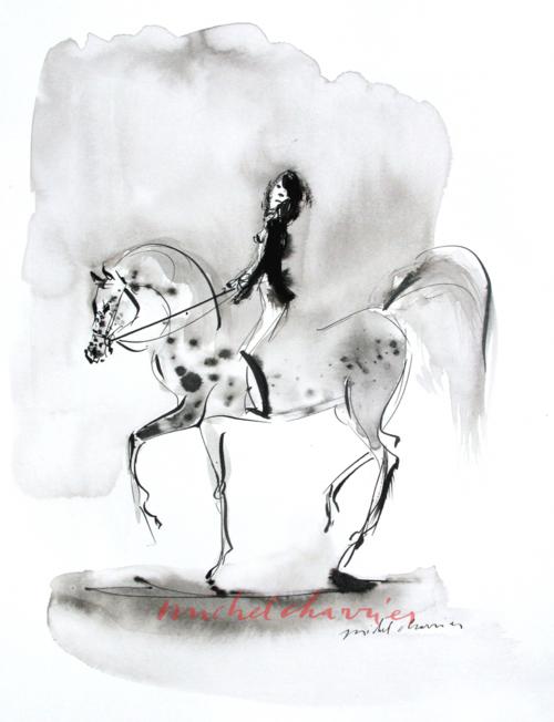 ,dessin encre noire cheval,cheval cavalière dessin encre noire et lavisIMG_1951