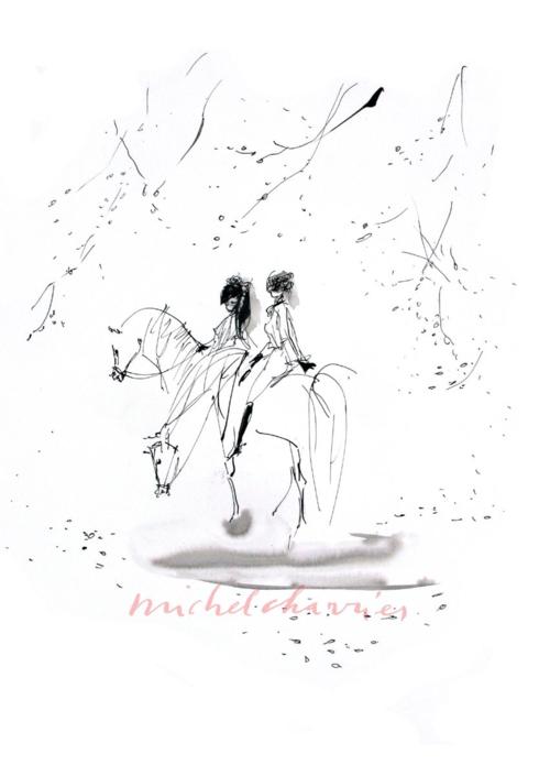 amies ensemble dessin de chevaux et cavalières Michel Charrier