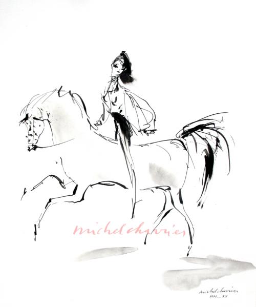 Amazone élégante à cheval dessin Michel Charrier, equestrian drawing Michel Charrier