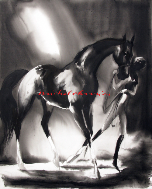 Dark-thoughts-grande-peinture-de-cheval-noir-Michel-Charrier-