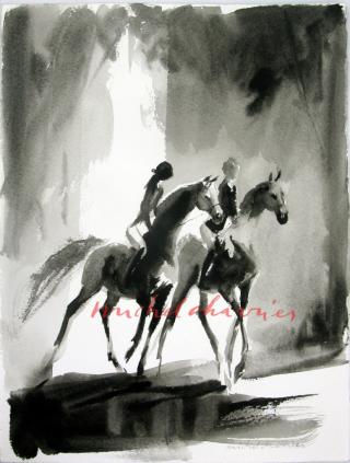 Au-bois-peinture de chevaux et cavaliers-cavalières_