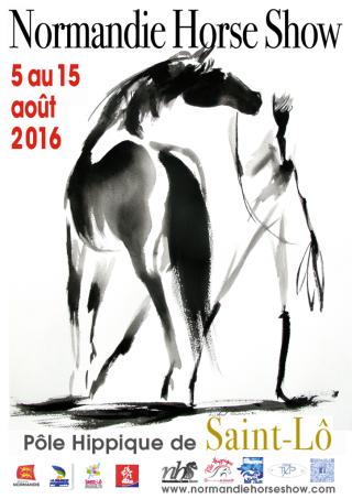 Normandie horse shox affiche-Affiche-Normandy-Horse-show-Michel-Charrier-5-au-15-août-2016-Cheval-noir-Michel-Charrier