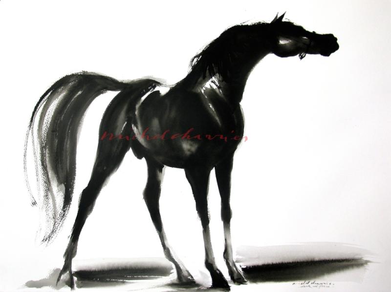 Artiste Michel Charrier- Peinture de cheval-galerie cheval-Peinture pur sang-Peintre équestre-peinture de chevaux-galerie de peinture de chevaux-peintures équestres-beau cheval de course-beau cheval pur sang noir-Beau yearling noir-vente yearling Deauville-vente des yearlings Deauville-vendu à Deauville Yearling-Très beau cheval à vendre-cheval compétition à vendre-