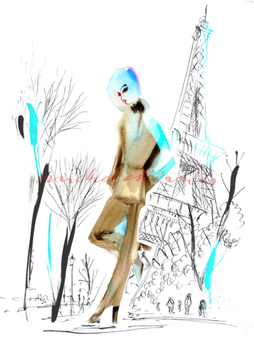 First Spring in Paris- Paris with angeleyes-Hello Paris fashion illustrations