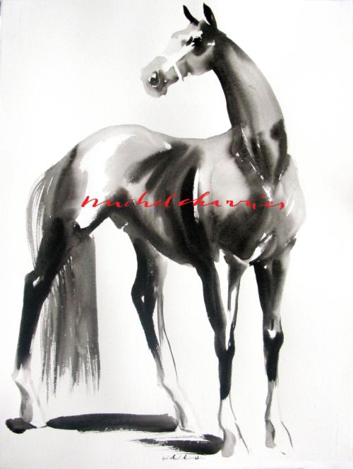 Portrait cheval Selle Français-peinture cheval noir-peinture cheval-Michel Charrier