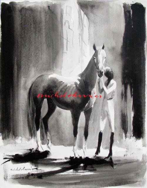 Michel Charrier-Cheval et cavalière portrait -34,5/44,5cm-peinture lavis de tempera noire de cheval et cavalière-