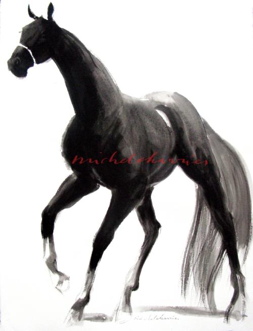 Michel Charrier-Peinture équestre-galerie peinture cheval-cheval noir en nuances de gris-Peinture tempera