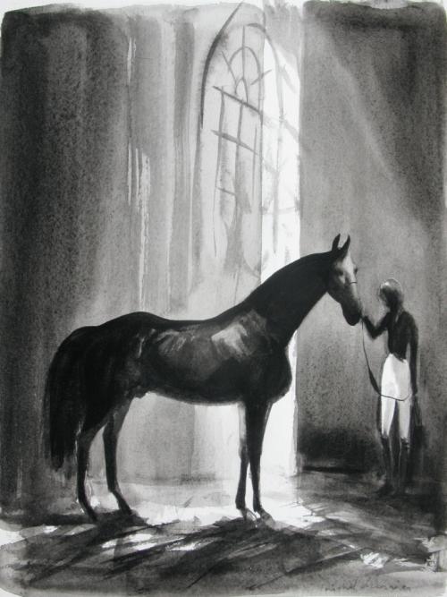 -cheval noir à l'écurie-peinture de cheval noir à l'écurie-IMG_9105