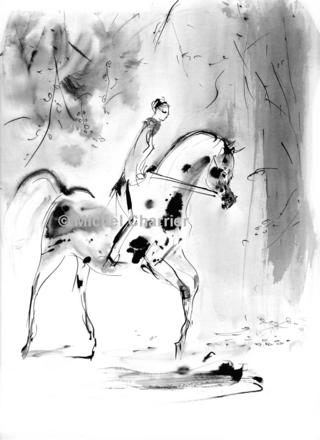 """""""Horses"""" l'exposition de dessins à plume et lavis pour les amoureux des chevaux-vifs modernes les Chevaux de L'illustrateur Michel Charrier à voir dans l'Eure-Exposition de dessins de chevaux dans l'Eure Haute Normandie-à visiter L'Ancienne Commanderie des Templiers de Chanu et son exposition """"Horses"""" des chevaux d'une écriture en noir et blanc moderne au trait rapide juste incisif croquant le mouvement et les frissons des chevaux.Amateurs de chevaux l'exposition """"Horses"""" est à voir dans le cadre remarquable de l'Ancienne et secrète Commanderie du Temple de Chanu Villiers-en-Desoeuvre dans l'Eure Haute Normandie-Cavaliers et cavalières élégants et leurs montures croqués par l'illustrateur Michel Charrier.""""Feeling"""""""