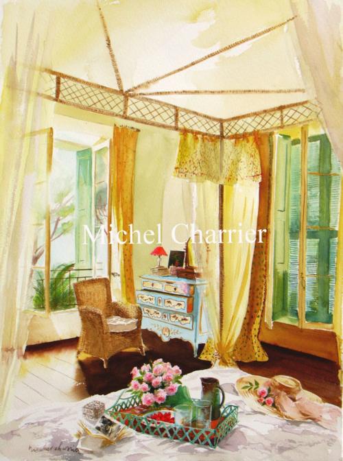intérieur aquarelle d'intérieur-MichelCharrier-Mediterranée-Provence-côte-dAzur- watercolors- interiors paintings-french-interiors- aquarelles-dintérieurs- intérieurs-aquarelles-scènes-dintérieurs-country-house-themes-style-mood-colour-french-country-eighteenth-century-house- maison-de-campagne-française- côté sud- manoir-maison-de-famille-petit-château-parc-ancien-jardins-aquarelle-MichelCharrier-scène-d'intérieur-