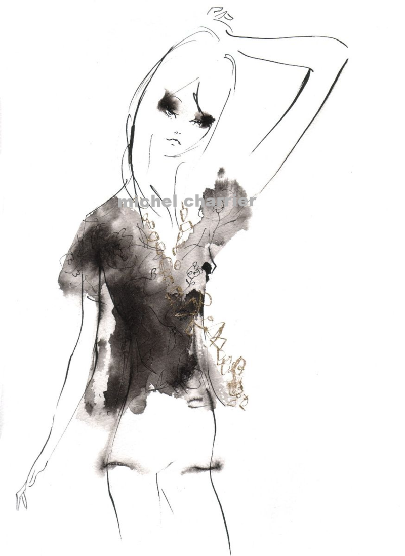 blouse dentelle et soie Bright light brighter mood fashion illustration Michel Charrier