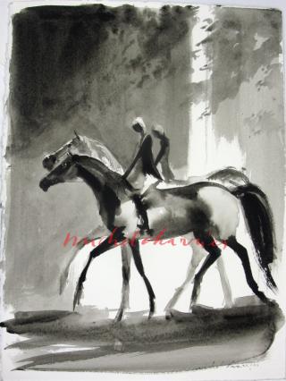 Promenade-au-bois-peinture en lavis de gris-Michel Charrier