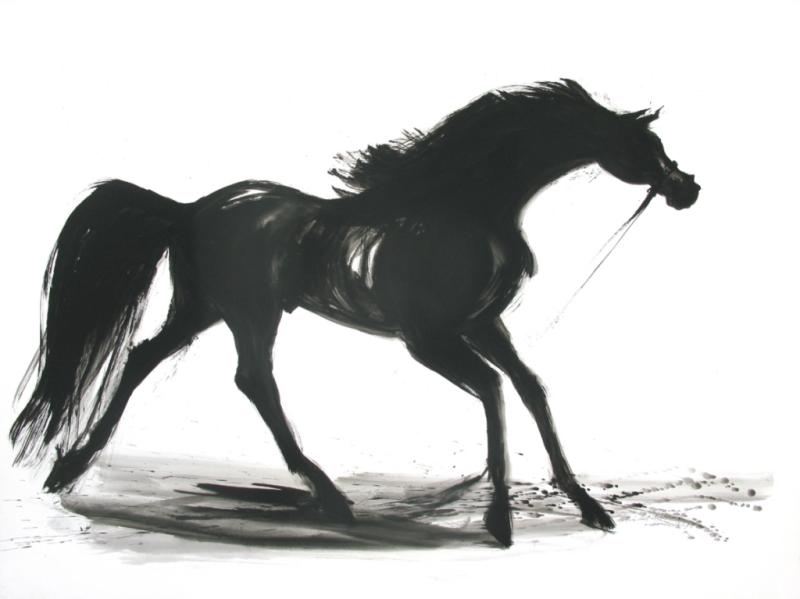 Peinture de cheval noir-Grande peinture de cheval -cheval en mouvement-cheval noir-peinture Equestre noire-peintre Equestre-exposition de peintures de chevaux, dressage cheval, cheval-Equitation-course de chevaux-galerie d'art animalier-beau cheval en mouvement-allures du cheval-cheval en loge-cheval à la longe-détente du cheval-pur sang-cheval de course-beau cheval noir à Chantilly-Concours saut d'obstacle-concours saut puissance-Normandie horse show-chevaux Deauville-Deauville-Vente Yearlings Deauville-