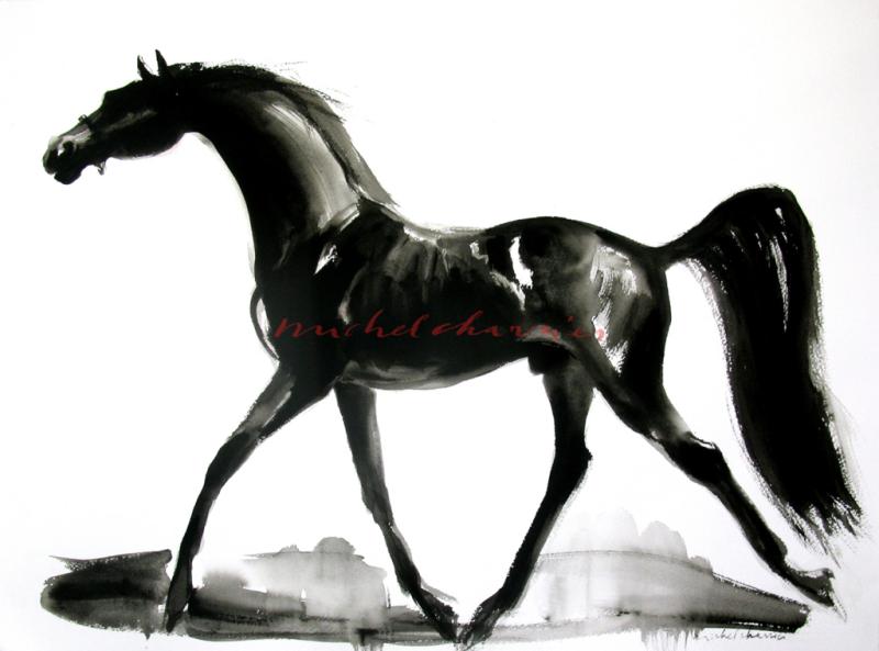 peinture de cheval noir par l'artiste Michel Charrier-cheval pur sang-beau cheval vente yearling Deauville-Etalon à vendre-beau cheval noir-peinture équestre-