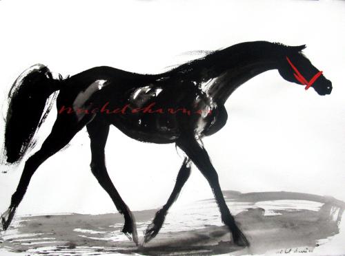 """""""Private Joke""""Portrait cheval noir Pur-Sang Deauville-Galerie cheval noir-peinture cheval lavis de tempera noire-"""