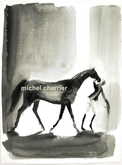 Horses-portraits de chevaux cavalières cavaliers élégants dessin plume encre noire Michel Charrier