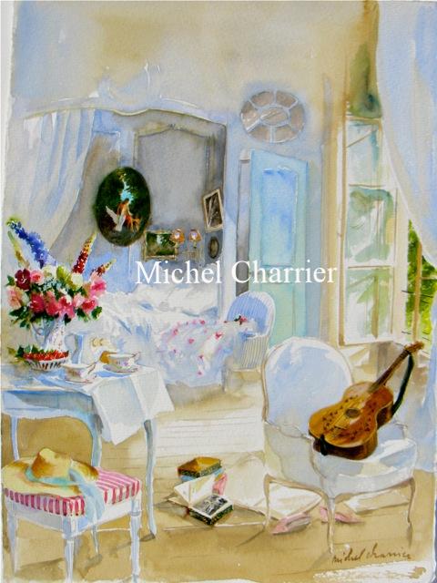 Portrait-d'intérieur-Michel-Charrier-portrait-des-pièces-de-la-maison-Aquarelle-et-dessin-d'intérieur-de-maison-scène-d'intérieur-de-maison-aquarelle-fine-watercolor-painting-French-interior-french-country-house-
