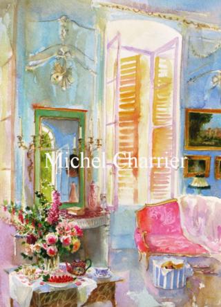 aquarelle dintérieur-maison méditerranée côté sud-Nice Méditerranée interieur aquarelle-interieur-de-maison-aquarelle-portrait-de-maison-interior-watercolor-salon-bleu-MichelCharrier-world-of-interiors-China-interior-Blue-panelled-room-eighteen-century-aquarelle-dinterieur-interieur-de-maison-aquarelle-