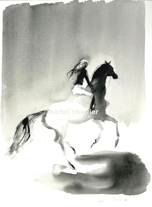 elle s'enfuit à cheval dans l'ombre-portrait équestre michel charrier- dessin équestre de cheval et cavalière élégants-