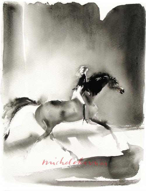 Peinture de cheval, cavalière à cheval peinture, chevaux peintures; peinture équestre, cheval et cavalière aquarelle noire, Horse painting, Black horse painting, Black watercolor
