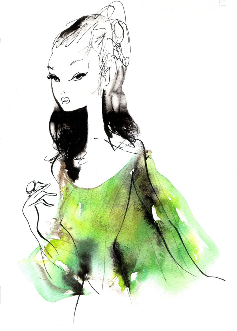 Absinth-Absinthe-you-know-play-it-again-in-a-jet-set-yellow-green-shift-fashion-illustration-mode-michel-charrier-robe-mousseline-couleur-absinthe-