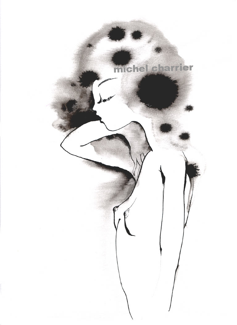 Parure de nuit dessin mode Michel Charrier-fashion drawing Michel Charrier-