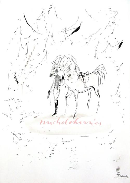 Elle et lui, dessin à l'encre noire Michel Charrier, cheval et sa cavalière