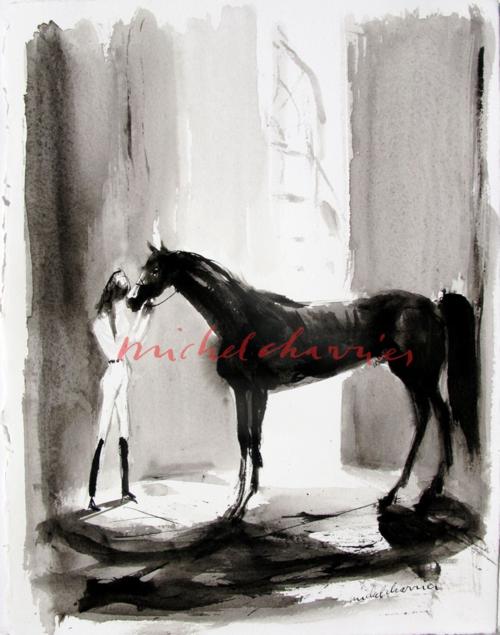 Mon magnifique peinture lavis d'aquarelle noire Michel Charrier IMG_3345