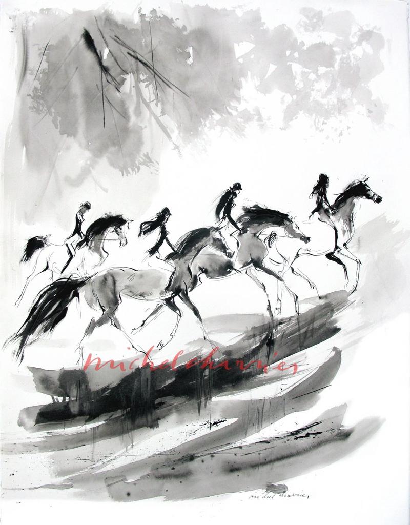 peinture-dessin-de-Cavalières-Cavalières-groupe-de-cavalière-dessin-peinture-lavis-chevaux-et-cavalière-en-forêt