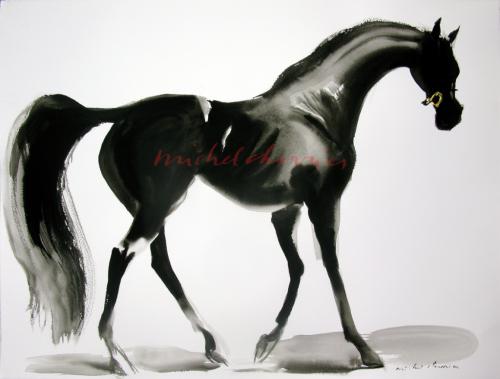 cheval robe noire-vente yearling-très beau cheval-étalon-exposition de peintures équestres-peintre équestre-peintures de chevaux-chevaux en mouvement-cheval-allure-dressage-course-saut-CSI--concours hippique la Baule-peinture Portrait de cheval noir en nuances de gris-galerie du cheval-cheval noir-pur-sang noir-