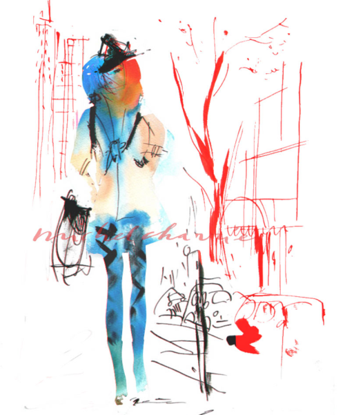 DowntownBlue Fashion illustration Michel Charrier-Fashion illustration-Fashion drawings Lolita Lempicka by Michel Charrier-Dessin de mode beauté parfum Michel Charrier--
