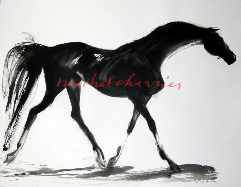 Pur Sang noir pangaré-peinture de cheval original signé Michel Charrier