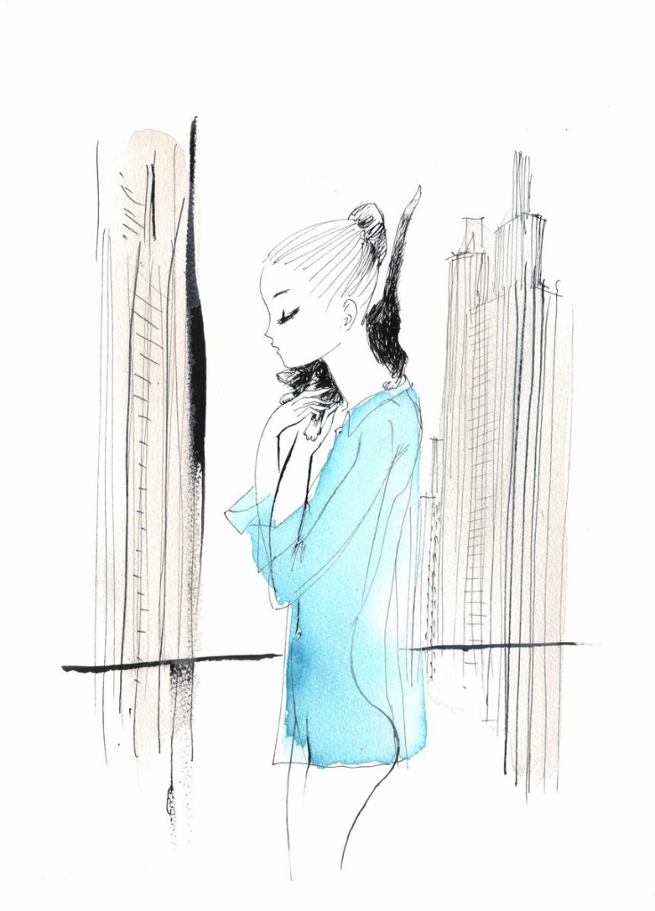 I miss you NewYork blue and grey song-Fashion illustration Pris NewYork