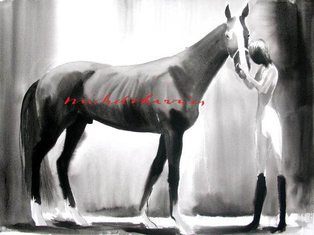 -Pleasant Guy-Peinture de cheval lavis de tempera noire-artiste Michel Charrier peintre équestre-Galerie peinture de chevaux