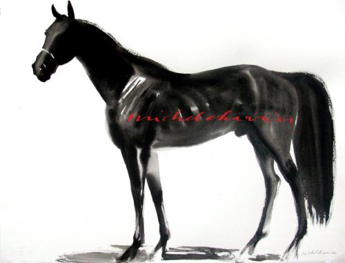 Portrait de cheval Pur-Sang dark power-portrait cheval en lavis de tempera noire-yearling robe noire à vendre Deauville-Beau Yearling- Cheval Pur-Sang à Vendre-Cheval Michel Charrier-