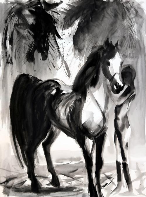 Peinture portrait avec cheval en noir-Cheval-Cheval noir-peinture équestre-peintre équestre-Michel Charrier-Peinture de l'artiste Michel Charrier-Peinture de cheval-cheval noir-Black Horse-lavis de tempera noire en nuances de gris-Grand lavis cheval noir-